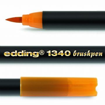 EDDING 1340 BRUSH PEN [Pack of 3] - FELT TIP PEN with Flexible Brush Style Tip